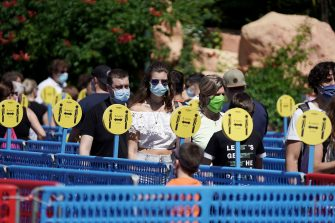 CASTELNUOVO DEL GARDA, ITALY - JUNE 13: General views of the people waiting in line to enter the Gardaland Amusement Theme Park on June 13, 2020 in Castelnuovo del Garda, Italy. Gardaland Amusement Theme Park is the first one to reopen in Italy after the ease of the lockdown imposed for the Covid-19 pandemic. (Photo by Vittorio Zunino Celotto/Getty Images)