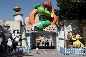 CASTELNUOVO DEL GARDA, ITALY - JUNE 13: General views of the Fantasy Kingdom at the Gardaland Amusement Theme Park opening on June 13, 2020 in Castelnuovo del Garda, Italy. Gardaland Amusement Theme Park is the first one to reopen in Italy after the ease of the lockdown imposed for the Covid-19 pandemic. (Photo by Vittorio Zunino Celotto/Getty Images)