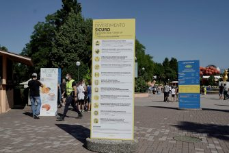 CASTELNUOVO DEL GARDA, ITALY - JUNE 13: General views of the entrance with social distancing signs at the Gardaland Amusement Theme Park opening on June 13, 2020 in Castelnuovo del Garda, Italy. Gardaland Amusement Theme Park is the first one to reopen in Italy after the ease of the lockdown imposed for the Covid-19 pandemic. (Photo by Vittorio Zunino Celotto/Getty Images)