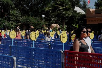 CASTELNUOVO DEL GARDA, ITALY - JUNE 13: General views of the entrance at the Gardaland Amusement Theme Park opening on June 13, 2020 in Castelnuovo del Garda, Italy. Gardaland Amusement Theme Park is the first one to reopen in Italy after the ease of the lockdown imposed for the Covid-19 pandemic. (Photo by Vittorio Zunino Celotto/Getty Images)
