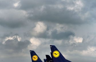 """The tails of aircraft of the German airline Lufthansa are seen at the """"Franz-Josef-Strauss"""" airport in Munich, southern Germany, on June 11, 2020. - German airline Lufthansa said on June 11, 2020 that it would have to slash 22,000 full-time jobs as the recovery in demand for travel following the coronavirus pandemic will be muted. (Photo by Christof STACHE / AFP) (Photo by CHRISTOF STACHE/AFP via Getty Images)"""