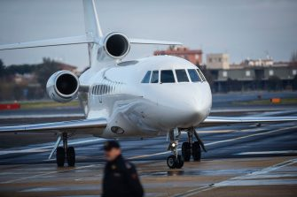 ROME, ITALY - JANUARY 14: A view of the Falcon 900LX during the arrival of Italian former far-left activist Cesare Battisti at Ciampino airport on 14 January, 2019 in Rome, Italy. Cesare Battisti, is an Italian former activist of the Armed Proletarians for Communism, a far-left terrorist group which committed acts of illegality and crimes in Italy in the late 1970s. He was sentenced for four murders in Italy and yesterday, after about 40 years of escape he was arrested in Santa Cruz, Bolivia and extradited to Italy. (Photo by Antonio Masiello/Getty Images)
