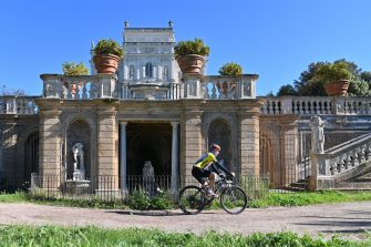 A man rides a bicycle in the park of the Villa Doria Pamphili in Rome on May 4, 2020, as Italy starts to ease its lockdown, during the country's lockdown aimed at curbing the spread of the COVID-19 infection, caused by the novel coronavirus. - Stir-crazy Italians will be free to stroll and visit relatives for the first time in nine weeks on May 4, 2020 as Europe's hardest-hit country eases back the world's longest nationwide coronavirus lockdown. (Photo by ANDREAS SOLARO / AFP) (Photo by ANDREAS SOLARO/AFP via Getty Images)