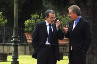 ROME - JUNE 2: Italy's Prime Minister Romano Prodi meets with British Prime Minister Tony Blair at Villa Pamphili, June 2, 2006 in Rome, Italy. Iraq was top on the agenda for the meeting between Italy's new premier Romano Prodi and Tony Blair in Rome. (Photo by Franco Origlia/Getty Images)