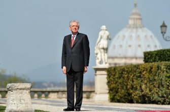 Italian Prime Minister Mario Monti stands with San Peter's basilica in the background as he waits for Maltese President prior their meeting on March 20, 2012 at Villa Pamphili in Rome. AFP PHOTO / ALBERTO PIZZOLI (Photo credit should read ALBERTO PIZZOLI/AFP via Getty Images)