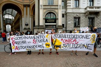 Students demonstrate against the new school set-up and the September reopenings in Milan, Italy, 25 June 2020. ANSA/Mourad Balti Touati