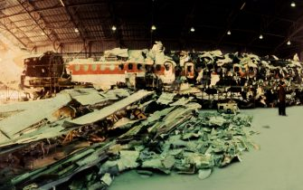 ROME, ITALY - OCTOBER 30: In a hangar of the military airport of Pratica di Mare (Rome) the reassembled of Itavia plane flight 870 which crashed on June 27th, 1980 is seen during a judicial inquiry on October 30, 1992 in Rome, Italy. On June 27th, 1980 the Itavia flight 870 which crashed between the islands of Ponza and Ustica killing all 81 people on board. This event led to many investigations, accusations and misdirections, and continues to be a source of controversy in the country. (Photo by Franco Origlia/Getty Images)