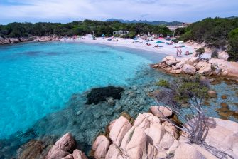 PORTO CERVO, ITALY - JUNE 07: A view of a beach in Sardinia where many tourists start arriving for the summer holidays after more than three months of lockdown due to Covid-19 on June 07, 2020 in Porto Cervo, Sardegna, Italy. Many Italian businesses have been allowed to reopen, after more than two months of a nationwide lockdown meant to curb the spread of Covid-19. (Photo by Emanuele Perrone/Getty Images)