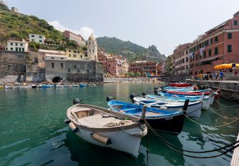 CINQUE TERRE, ITALY - AUGUST 07: Vernazza village at the Cinque Terre on the Italian Riviera on August 07, 2018 in Cinque Terre, Italy.  (Photo by Athanasios Gioumpasis/Getty Images)