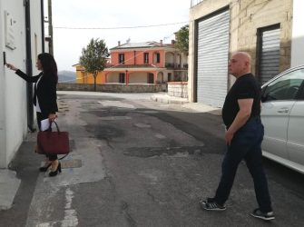 Former Sardinian banditry's 'scarlet pimpernel' Graziano Mesina, who has been released today after serving his term for international drug trafficking, is flanked by his lawyer Beatrice Goddi, in Orgosolo, Sardinia island, Italy, 07 June 2019. ANSA/ MARIA GIOVANNA FOSSATI