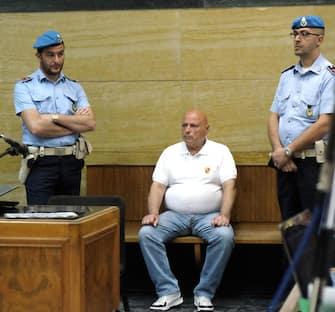L'ex primula rossa del banditismo sardo, Graziano Mesina, imputato per associazione a delinquere finalizzata al traffico di droga, durante la sesta udienza del processo davanti ai giudici della seconda sezione penale del Tribunale di Cagliari, 12 giugno 2014. ANSA / GIUSEPPE UNGARI