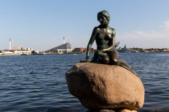 """COPENHAGEN, DENMARK  AUGUST 26: The Little Mermaid sculpture at Langelinie seen on August 26, 2019 in Copenhagen, Denmark. """"The Little Mermaid"""" is a fairy tale written by Danish author Hans Christian Andersen and the sculpture is a must see  for many tourists visiting Copenhagen.  (Photo by Ole Jensen/Getty Images)"""