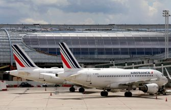 ROISSY-EN-FRANCE, FRANCE - JUNE 18: Air France aircrafts are parked on the tarmac at Paris Charles de Gaulle airport on June 18, 2020 in Roissy-en-France, France. The airline company Air France plans to abolish many posts in order to face the consequences of the crisis due to the coronavirus. The Air France reconstruction plan, which will be unveiled at the end of June or early July, should include 8,000 to 10,000 layoffs, or 15% to 20% of the group workforce. All categories of personnel are affected, but departures will be on a voluntary basis, with financial incentives. (Photo by Chesnot/Getty Images)