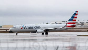 DALLAS, TEXAS - MARCH 13: A view of an American Airlines jet at Dallas/Fort Worth International Airport (DFW) on March 13, 2020 in Dallas, Texas. American Airlines announced that it is cutting a third of its international flights amid a major slowdown due to the Coronavirus (COVID-19) outbreak. (Photo by Tom Pennington/Getty Images)