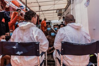 In a photo provided by the press office of Sos Mediterraneè, the Italian medical team consisting of a doctor and a cultural mediator, boarded on Ocean Viking, 4 July 2020. The ship is in international waters with 180 migrants rescued and for days asks to be able to disembark. The ship declared a state of emergency due to the precarious conditions of the rescued people. Ansa / Flavio Gasperini Sos Mediterraneè press office +++ ATTENZIONE LA FOTO NON PUO? ESSERE PUBBLICATA O RIPRODOTTA SENZA L?AUTORIZZAZIONE DELLA FONTE DI ORIGINE CUI SI RINVIA +++ ++ HO - NO SALES, EDITORIAL USE ONLY ++