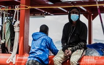 A handout photo made available by the press office of SOS Mediterranee, shows migrants boarded on Ocean Viking ship anchored off the Sicilian port of Porto Empedocle in compliance with orders from the Italian authorities., 06 July 2020. Conditions on the ship are difficult as it has not been able to disembark the migrants after rescuing them late last month.. EPA/FLAVIO GASPERINI / SOS MEDITERRANEE / HANDOUT HANDOUT EDITORIAL USE ONLY/NO SALES