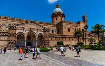 PALERMO, ITALY AUGUST 9: Tourists visit the cathedral of the Blessed Virgin Mary of the Assumption. The cathedral contains the tombs of the kings of Sicily on August 9, 2019 in Palermo, Italy. The city of Palermo and the 4 most visited cities in Italy by Italian and foreign tourists. (Photo by Stefano Montesi/Corbis via Getty Images)