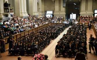 BOLOGNA, ITALY - JUNE 19:  The ceremony where hundreds of students are awardered with the degree of research in the ReUniOn of ex students of the Università degli Studi of Bologna Alma Mater Studiorum at Aula Magna Santa Lucia on June 19, 2015 in Bologna, Italy.  (Photo by Mario Carlini - Iguana Press/Getty Images)