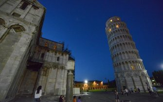 An external view of the Tower of Pisa illuminated, Pisa, Italy, 17 June 2013. ANSA/FRANCO SILVI
