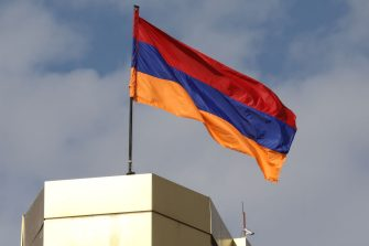 The Armenian national flag flies in the wind in Yerevan on October 11, 2018. (Photo by Ludovic MARIN / AFP)        (Photo credit should read LUDOVIC MARIN/AFP via Getty Images)