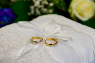 Wedding rings are pictured during the ceremony at the Briosco's town hall, about 45 km ( 28 miles) north of Milan, on May 11, 2020 during the country's lockdown aimed at curbing the spread of the COVID-19 infection, caused by the novel coronavirus. (Photo by Miguel MEDINA / AFP) (Photo by MIGUEL MEDINA/AFP via Getty Images)