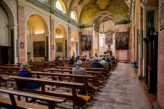 CREMONA, ITALY - MAY 24: A half empty church follows the rules of social distancing during the Covid-19 emergency in Spino d'Adda, on May 24, 2020 in Cremona, Italy. Italy is trying an ease of the safety measures of the lockdown due to the Covid-19 pandemic. (Photo by Marco Mantovani/Getty Images)