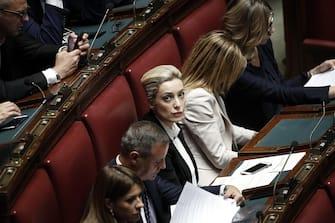 La deputata di Forza Italia Marta Antonia Fascina  durante la discussione in Aula del disegno di legge sull'Autorità di regolazione per energia reti e ambiente (ARERA), Camera dei Deputati, Roma, 7 maggio 2018. ANSA/RICCARDO ANTIMIANI