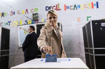 Forza Italia (FI) party leader Silvio Berlusconi's fiancee, Francesca Pascale, casts her ballot at a polling station during municipal elections in Rome, Italy, 05 June 2016. Local elections are underway across Italy including mayoral votes in Rome, Milan, Turin and Naples. ANSA/ANGELO CARCONI