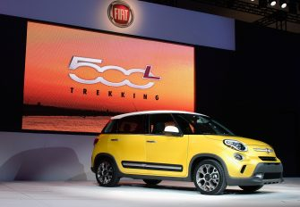 LOS ANGELES, CA - NOVEMBER 28:  The bigger and roomier Fiat 500L Trekking is unveiled during the Los Angeles Auto show on November 28, 2012 in Los Angeles, California. The LA Auto Show opens to the public on November 30 and runs through December 9.  (Photo by Kevork Djansezian/Getty Images)