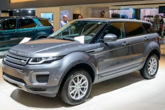 BRUSSELS, BELGIUM - JANUARY 13:     Land Rover Range Rover Evoque or just Range Rover Evoque compact SUV front view on display at Brussels Expo on January 13, 2017 in Brussels, Belgium. The Range Rover Evoque is available with petrol and diesel engines.  (Photo by Sjoerd van der Wal/Getty Images)