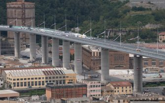GENOA, ITALY - AUGUST 03: A general view of the Genova San Giorgio Bridge on August 03, 2020 in Genoa, Italy. Designed by Italian architect Renzo Piano and built by a consortium established by Fincantieri and WeBuild, the Genova San Giorgio Bridge is a 1067 meters continuous steel deck - viaduct along Italy's A10 motorway replacing the Polcevera Viaduct (also known as Morandi Bridge), partially collapsed during a rainstorm on August 14, 2018, killing 43 people. (Photo by Stefano Guidi/Getty Images)