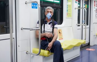 MILAN, ITALY - MAY 03:  A man wearing PPE face mask and sitting in the places assigned for social distancing poses for a photograph inside the subway during the COVID-19 pandemic on May 03, 2020 in Milan, Italy. Italy will remain on lockdown to stem the transmission of the Coronavirus (Covid-19), slowly easing restrictions. (Photo by Lorenzo Palizzolo/Getty Images)