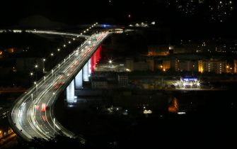 GENOA, ITALY - AUGUST 04: General views of the newly inaugurated Genoa San Giorgio bridge on August 04, 2020 in Genoa, Italy. The bridge has been reopened to the cars after almost two years of construction after the Morandi bridge collapsed, killing 43 people, on August 14th, 2018. (Photo by Fabio Bussalino/Getty Images)