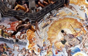 """A picture taken on February 23, 2017 shows the fresco """"Last Judgment"""" (Giudizio Universale) by Italian artist Giorgio Vasari in the dome built by Italian architect Filippo Brunelleschi, also known as the Brunelleschi's dome, part of the Santa Maria del Fiore cathedral (Saint Mary of the Flowers), in Florence. The Opera of Santa Maria del Fiore launched """"Autography on the Brunelleschi's dome"""", an initiative that allows visitors to leave virtual signs thank to tablets placed in the cathedral, instead of writing their messages on the monument's walls. The messages will be stored on the """"Autography"""" website and archived online. / AFP / VINCENZO PINTO / RESTRICTED TO EDITORIAL USE - MANDATORY MENTION OF THE ARTIST UPON PUBLICATION - TO ILLUSTRATE THE EVENT AS SPECIFIED IN THE CAPTION        (Photo credit should read VINCENZO PINTO/AFP via Getty Images)"""