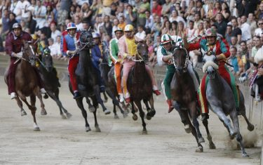 The horses from various districts race in the Palio of Siena horse race, held to celebrate the apparition of the Assunta virgin, on August 16, 2008 in Siena. Giuseppe Zedde on Elisir Loguduro of the district of Caterpillar won the event. AFP PHOTO / NICO CASAMASSIMA (Photo credit should read NICO CASAMASSIMA/AFP via Getty Images)