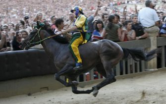Giuseppe Zedde, a jockey from the district of Caterpillar, on the horse Elisir Loguduro, wins the horse race, the Palio of Siena, held to celebrate the apparition of the Assunta virgin, on August 16, 2008 in Siena. AFP PHOTO / NICO CASAMASSIMA. (Photo credit should read NICO CASAMASSIMA/AFP via Getty Images)
