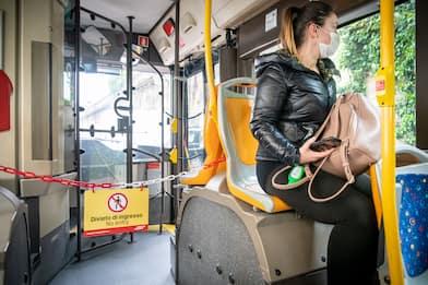 Coronavirus, ipotesi per i trasporti: parafiati su treni e bus. FOTO