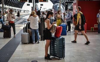 A moment of the check control anticovid in Milan's train station (Stazione Centrale), 12 August 2020. ANSA/MATTEO CORNER