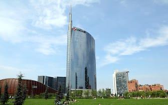L'Unicredit Tower. Gli uffici della sede centrale della banca sono per lo più vuoti perché i dipendi continuano a lavorare da casa  in smart working. Milano, 23 Maggio 2020.ANSA / MATTEO BAZZI