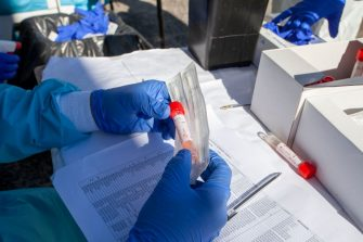 BARI, ITALY - AUGUST 20: The test tube of the swab carried out to people who have returned from vacation on August 20, 2020 in Bari, Italy. (Photo by Donato Fasano/Getty Images)