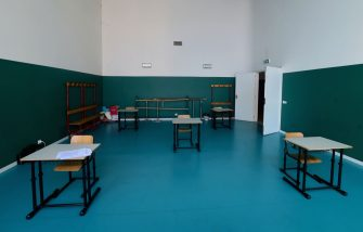 BORGOSESIA, ITALY - MAY 12:  A view of a classroom with school desks that keep social distance to counter the spread of covid-19 on May 12, 2020 in Borgosesia, Italy. Italy was the first country to impose a nationwide lockdown to stem the transmission of the Coronavirus (Covid-19), but this project by the Borgosesia major aims to open schools with the correct safety measures.  (Photo by Pier Marco Tacca/Getty Images)