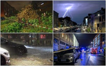 Maltempo, nubifragio su Milano: alberi caduti e un tetto scoperchiato