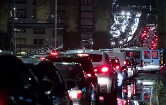 Traffico sulla tangenziale a San Giovanni per il maltempo, Roma, 11 novembre 2019. ANSA/ANGELO CARCONI