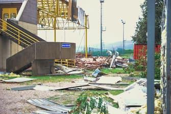 I danni alle abitazioni provocate da una tromba d'aria che ha colpito Montecchia di Crosara ,  29 agosto 2020. Ansa Filippo Venezia