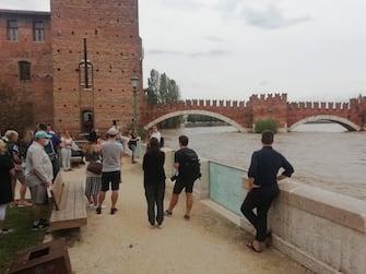 Una immagine del centro dopo il passaggio del maltempo a  Verona, 31 agosto 2020. ANSA