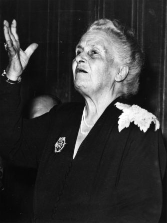 22nd August 1949:  Italian physician and educationalist Maria Montessori (1870 - 1952), a candidate for the Nobel Prize, takes inauguration at the 8th International Montessori Congress.  (Photo by Keystone/Getty Images)