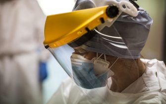 BOLOGNA, ITALY - APRIL 23: A doctor wearing a protective mask in the Infectious Disease ward at Sant'Orsola Hospital on April 23, 2020 in Bologna, Italy. Italy will remain on lockdown until May 4th to stem the transmission of the Coronavirus (Covid-19), but some industries are being allowed to reopen. (Photo by Max Cavallari/Getty Images)