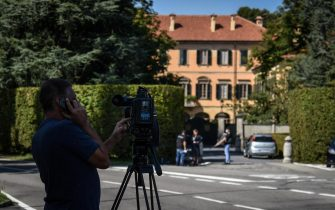 Press and cameramen gather at external  of the villa of Silvio Berlusconi Villa San Martino in Arcore, 03 September 2020. ANSA/Matteo Corner