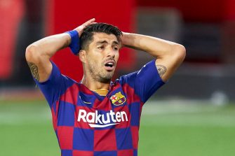 SEVILLE, SPAIN - JUNE 19: Luis Suarez of FC Barcelona reacts during the Liga match between Sevilla FC and FC Barcelona at Estadio Ramon Sanchez Pizjuan on June 19, 2020 in Seville, Spain. (Photo by Mateo Villalba/Quality Sport Images/Getty Images)