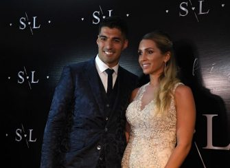 Uruguayan Barcelona forward Luis Suarez and his wife Sofia Balbi pose during a party for the renewal of their marriage vows in La Barra, near Punta del Este, Uruguay, on December 26, 2019. (Photo by EITAN ABRAMOVICH / AFP) (Photo by EITAN ABRAMOVICH/AFP via Getty Images)